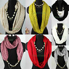 Pearls Chain Pendant Jewelery Shawl Infinity Loop Cowl Eternity Knit Warm Scarf