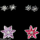 10PCs Flower Embellishment Findings Rhinestone Silver Plated 3.5 x 3cm M1333