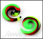 Pair Spiral Flexible Silicone Ear Skin Rasta Stretcher Expander PLUGS Gauges