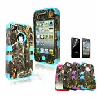 New Camo Grass Hybrid Heavy Duty Rugged Hard Case Cover For iPhone 4s 4 + Flim