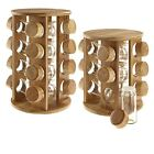 Wooden Rotating Revolving Bamboo Spice Rack Glass Jars Gift for Kitchen Him Her