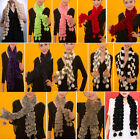 2013 New Women Real rabbit FUR COLLAR NECK WRAP GIRL CHIFFON POM POM scarf Shawl