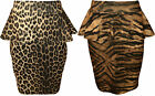 New Womens Animal Leopard Tiger Print Peplum Bodycon Ladies Pencil Skirt 8 - 14
