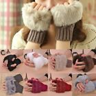 Women Fingerless Fur Winter Hand Warmer Wrist Knitted Wool Mitten Gloves 8 Color