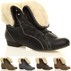 WOMENS LADIES LOW HEEL PIXIE FUR CUFF LACE UP VINTAGE ANKLE BOOTS SIZE