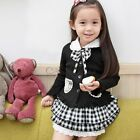 3pcs Girls Kids School Uniform Outfit Bowknot Top +Plaid Skirt+Hat Dress Clothes