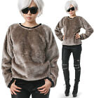 RTBU Punk Rock Teddy Bear Sarpei Faux Fur Velvet Furry Slouchy Sweatshirt Jumper
