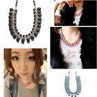 Lady's Resin Alloy Inspired Crystal Bib Statement Chain Necklace Jewelry