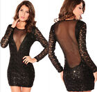 Sequins New See-Through Sexy Women Crew Neck Evening Night Club Wear Party Dress