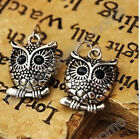 Retro Style Antique Silver Colour Owl Hooks Dangle Earrings 2cm