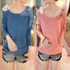 New Women Long Sleeve Floral Crochet Knit Splicing Casual Top Sweater Jumper