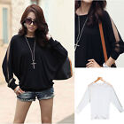 Women's Casual Long Sleeve Lace Tee T-shirt Batwing Blouse Tops Cotton Loose New
