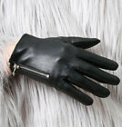 Genuine Leather Lambskin Punk Men Women Metal Zip Motorcycle Biker Riding Glove