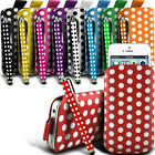 PU Leather Polka Pull tab Pouch Case & Stylus Pen For Most LG Mobile Phones