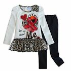 2PC Girls Outfits Kids Leopard Top + Leggings Pants Elmo Sesame Street 2T 3T 4T