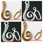 New 100sets Antique Silver/Bronze Stone Snail Shape Toggle Clasps For Jewelry