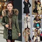 Women Trench Double-breasted Down Coat Jacket Outwear Fleece Hoodie Faux Fur BF0