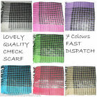 WOMENS LOVELY QUALITY CHECK SCARF WITH LUREX & TASSLES  7 COLOURS