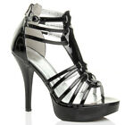 WOMENS LADIES PLATFORM HIGH HEEL STRAPPY ANKLE BUCKLE SANDALS SHOES SIZE