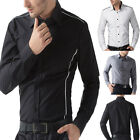 Sexy Men's Top Designed Slim Fit Patched LongSleeve Casual Dress Shirt PJ Hot