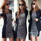 New Women Long Sleeve Contrast Cotton Stretch Bodycon Party Casual Sheath Dress