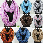 Fashion Swallow Bird Infinity Wrinkle 2-Loop Cowl Eternity Voile Scarf 8 Color