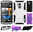 For HTC One MAX HYBRID KICKSTAND Hard Rubber Silicone Case Phone Cover Accessory
