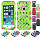 For Apple iPhone 5 5S SE HYBRID IMPACT Silver Studs Case Phone Cover Accessory