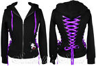 HELL BUNNY Black Purple Ribbon~CoRSeT HooDie~Punk Jacket 8-20 XS-XL
