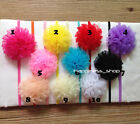 12pcs Baby Girls Chiffon Satin Flowers Carnation Skinny FOE lace headbands bow