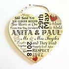 Wedding Wooden Plaque Heart Personalised Typography Sign Gift Memories W4