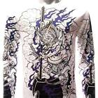 ls2 M L XL Japanese Irezumi Tattoo Long Sleeve T-shirt Demon Oni Fire God Street