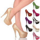 WOMENS LADIES PLATFORM PUMPS HIGH HEEL PARTY COURT SHOES SIZE