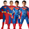 Child Superman Fancy Dress Costume Outfit Man Of Steel Licensed New Superhero