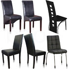 Dining Chairs Black Faux Leather Chrome Legs Dining Room Chairs Glass Table