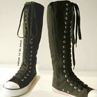 20 Hole Punk Rock Canvas Laceup Knee Hi Multi Color Black Hot Pink Sneaker Boot