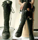 20 Hole Punk Rock Men Women Canvas Laceup Knee Hi Mono Black Sneaker Flat Boot