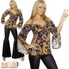 Hippy Flares + Top Ladies Fancy Dress 1960s-1970s Womens Costume Hippie Outfit