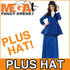 Victorian Lady + Hat Fancy Dress Ladies Edwardian Costume Womens Outfit UK 8-30