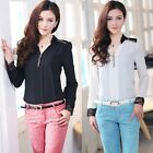 Fashion Womens Spring Hot Sexy Chiffon Lace V Neck Long Sleeve Blouse T Shirt O