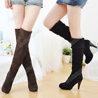 Women Over the Knee High Thigh Stretch Heels Boot Black Brown Shoes DZ88