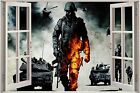Huge 3D Window view Army Troops & Tanks Wall Sticker Film Decal Wallpaper