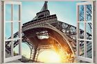 Huge 3D Window view Eiffel Tower Paris Wall Sticker Film Art Decal Wallpaper