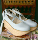 Punk Rock Gothic Lolita Faux Wood Leather Platform Ballet Shoe Ribbon Strap Blue