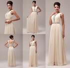 Long Chiffon Beaded Evening Party Gown Prom Bridesmaid Dress UK 6 8 10 12 14 16+