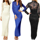 Sexy Women Scallop Neck Lace Long Sleeve Cocktail Prom Party Club Maxi Dress