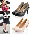 Womens Ladies Round Toe Platform Slip On High Heel Court Shoes Plus Size A-392