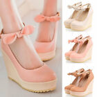 Womens Ladies Sweet Round Toe Bow Tie Wedge High Heel Court Shoes Plus Size C-9