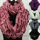 Fashion Soft Wool Knit Trim Shawl Infinity 2Loop Cowl Eternity Solid Color Scarf