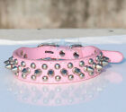 PINK LEATHER STUDDED SPIKED SPIKEY DOG COLLARS S M L